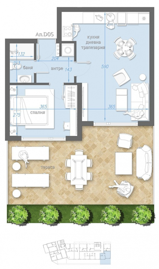 Apartment mit garten am strand